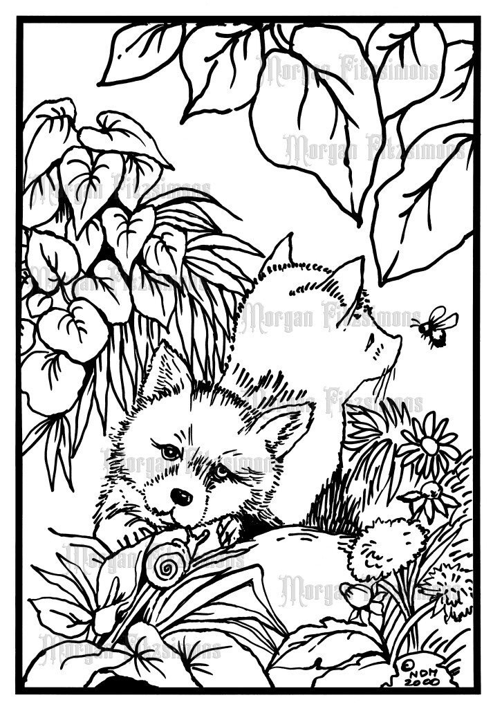 Baby Foxes - Digital Stamp