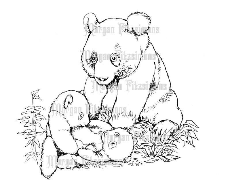 Pandas - Digital Stamp
