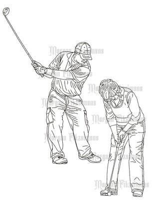 Sports Golfers - Digital Stamp