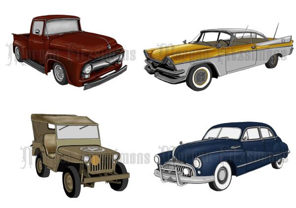 Vintage Autos Pre-Coloured - Digital Stamps