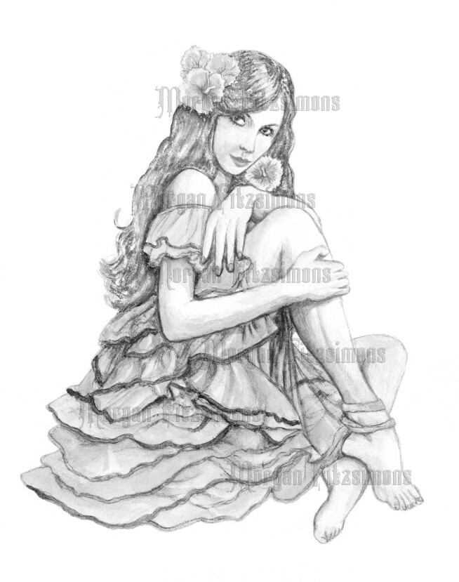 Flamenco 2 Greyscale - Digital Stamp