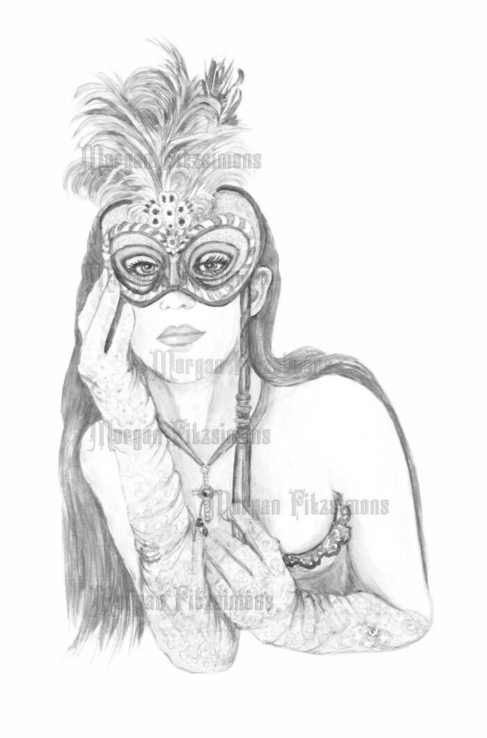Masquerade 1 Greyscale - Digital Stamp