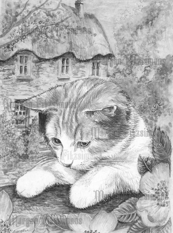 Kitten 5 Greyscale - Digital Stamp