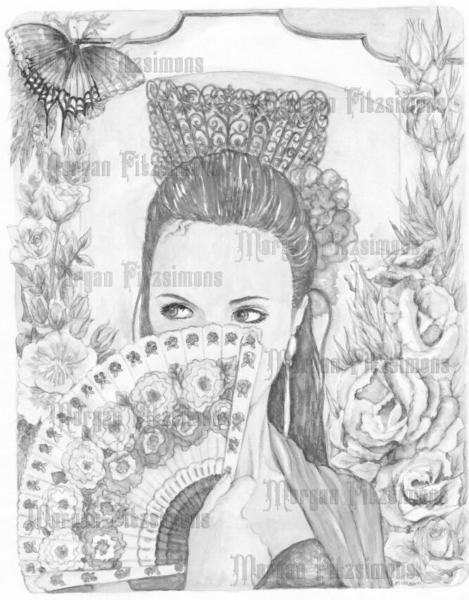 Spanish Eyes 6 Greyscale - Digital Stamp