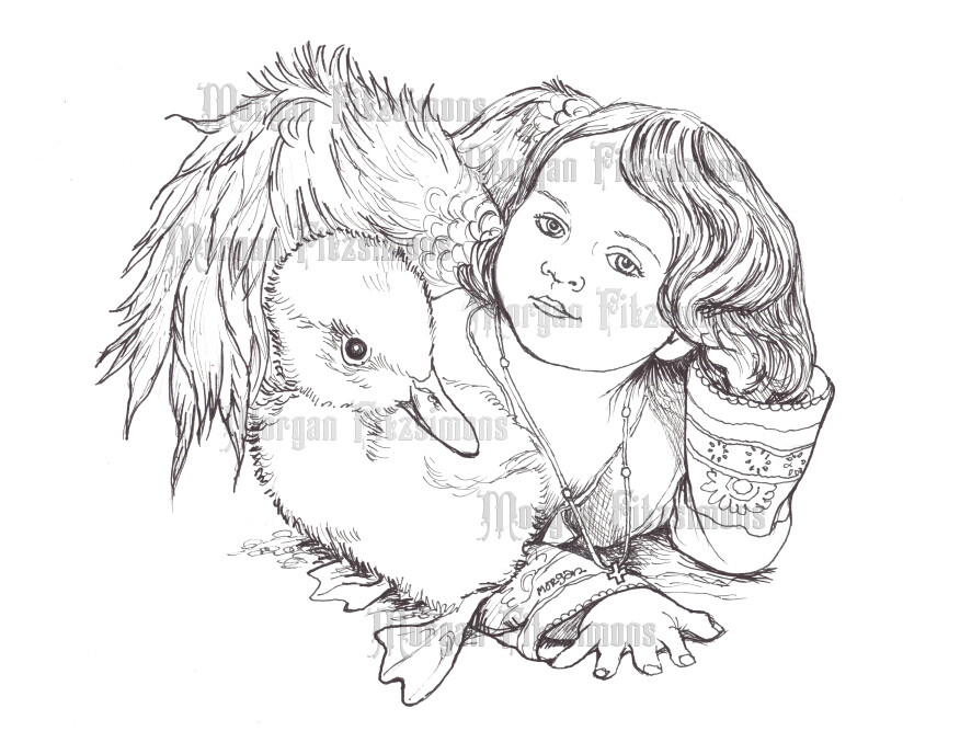 Fae Angel And Baby Duck - Digital Stamp
