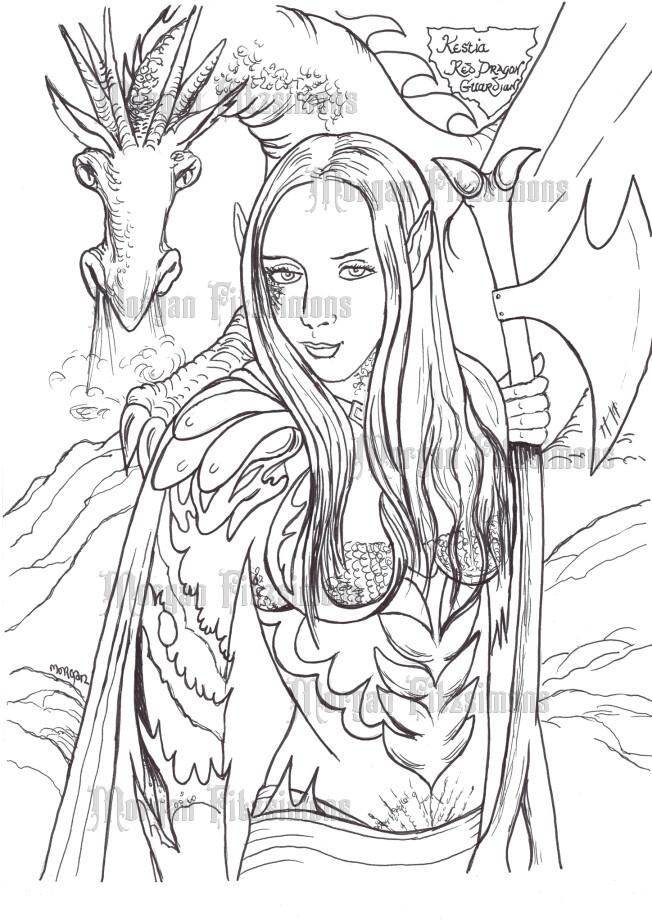 Kestia And Red Dragon - Digital Stamp