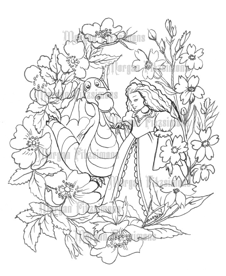 Princess And Dragon - Digital Stamp