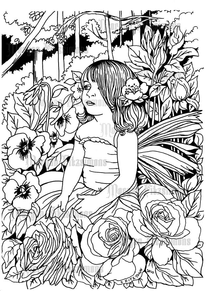 Fairy Children Fairy Rose - Digital Stamp