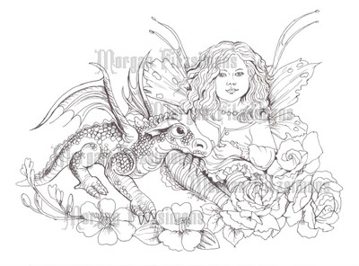 Fairy And Baby Dragon - Digital Stamp
