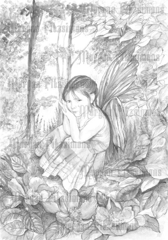 Fae Children Broken Wing Greyscale - Digital Stamp