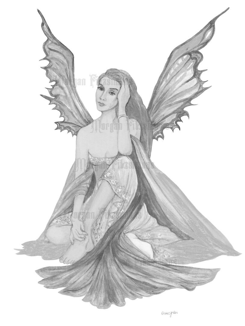 Fairy Greyscale - Digital Stamp