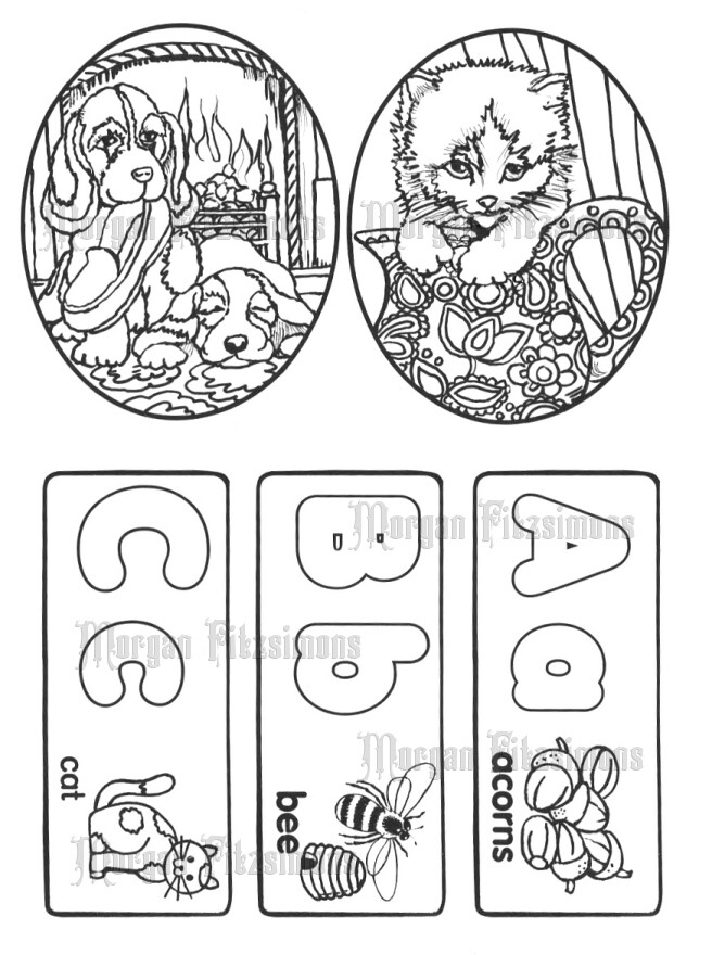 Puppies and Cat-abc - Digital Stamps