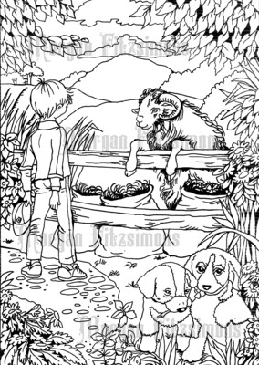 Boy With Animals - Digital Stamp