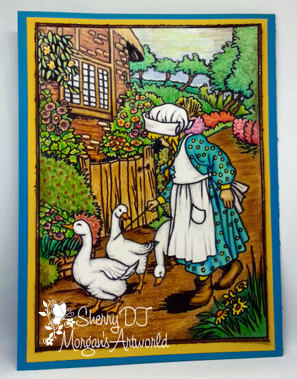 Country Girl With Ducks - Digital Stamp