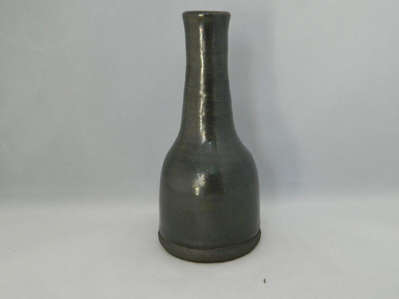 """Black Clay Vace With Silk Glaze 5.5"""" Piece #185"""