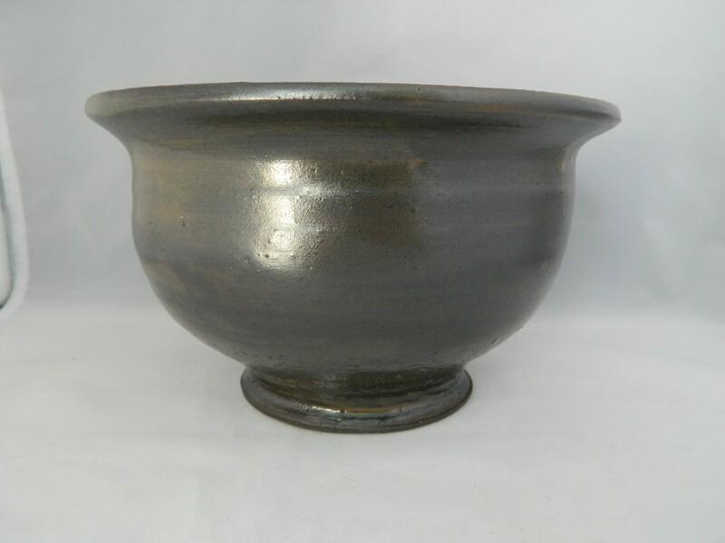 Black Clay Tiger Steaker Glaze Pedestal Bowl 7x4.5 Piece #171