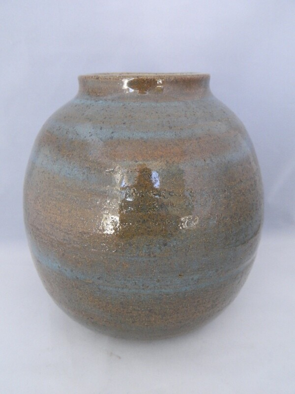 Stoneware Turquoise Streaked Brown w/ Side Oval Piece 6.5x6.5 Piece #161