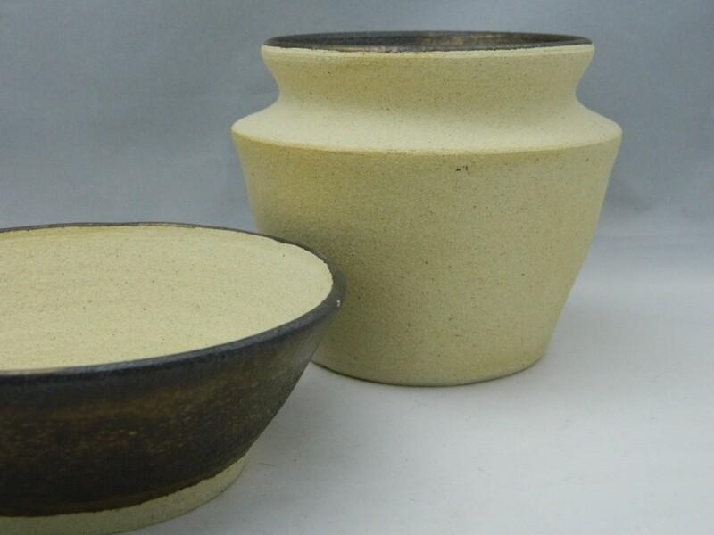2pc Raw Stoneware with Gold Luster Glaze Set 4x2;4x4 Piece #154