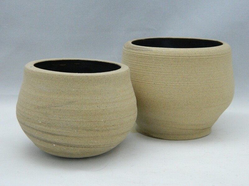 "2pc set Raw Stoneware and Black Silk Glaze 3 and 2.5""h Piece #154"