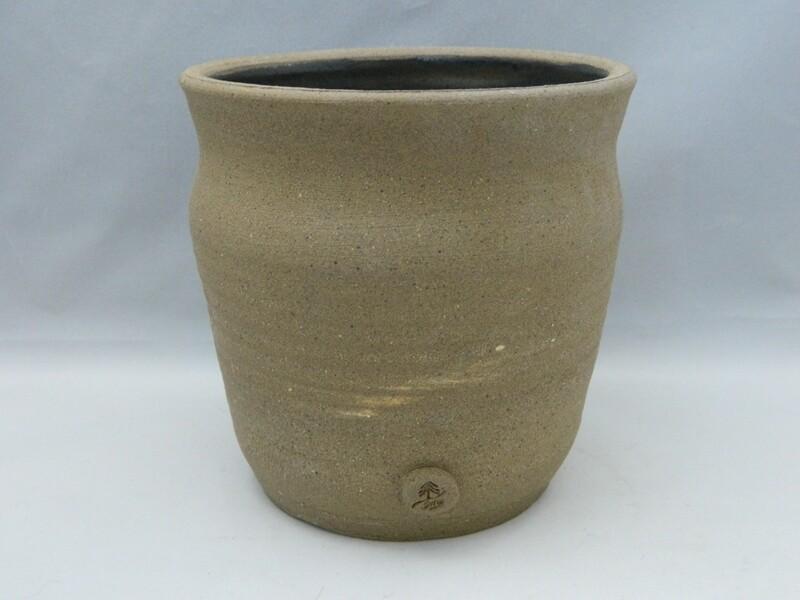 """Raw Exterior Silk Glaze Interior Button Stamped 5""""H Piece #152"""