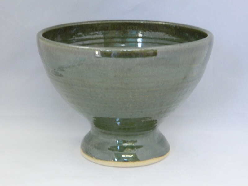 Lifted Sea Green Pedestal Bowl 6.7w x 4.75h Piece #124