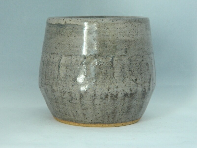 "Gray Washed Textured Cup 3""h Piece 112"