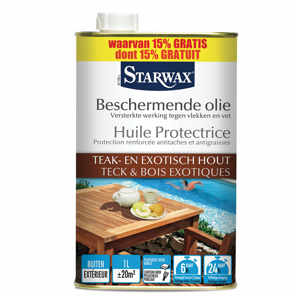Starwax Beschermende olie Teak en Exotisch hout 1 L