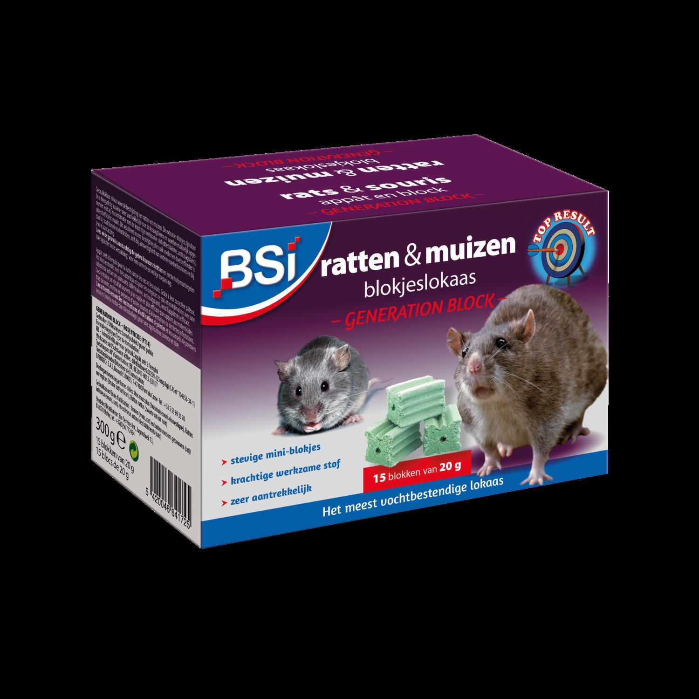 Muizen- en rattenvergif blocks bsi 15 x 20 g