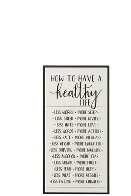 Plakkaat How To Have A Healthy Life Hout/Keramiek Wit/Zwart J-line