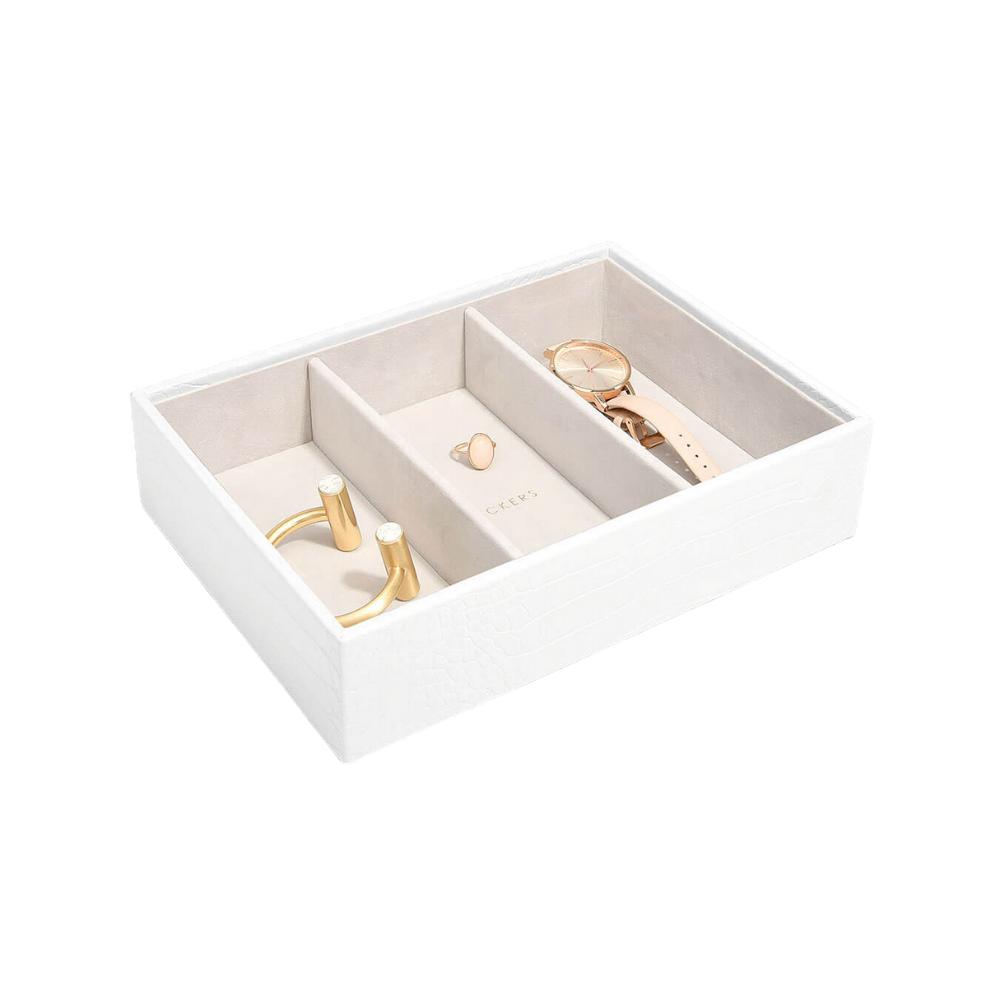 Stackers juwelenlade classic 3 vakken croco wit