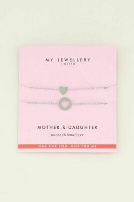 Mother-Daughter armbandjes Zilver