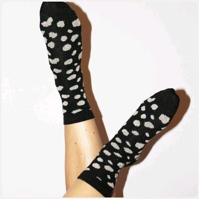 Glittersokjes Leopard Zwart
