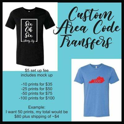 Area Code Custom Screen Print
