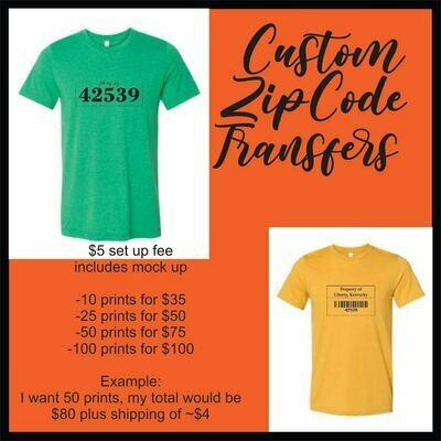 Zip Code Custom Screen Print