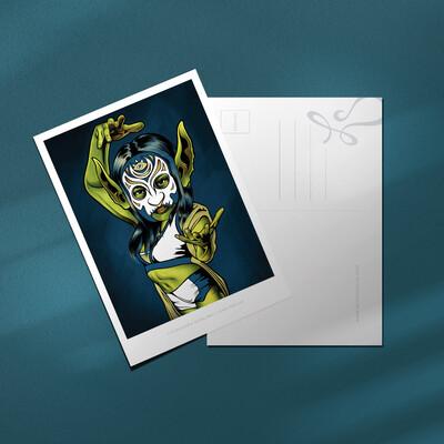 """Luchadora Goblina 4x6"""" Postcard"""