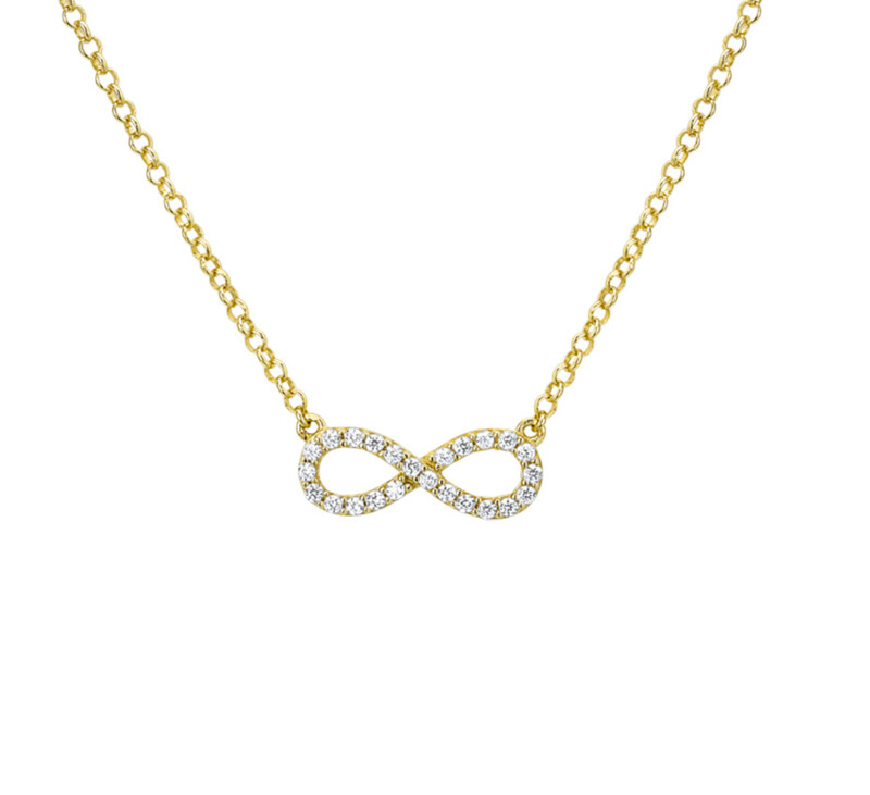 Collier mini infinity in stras geel