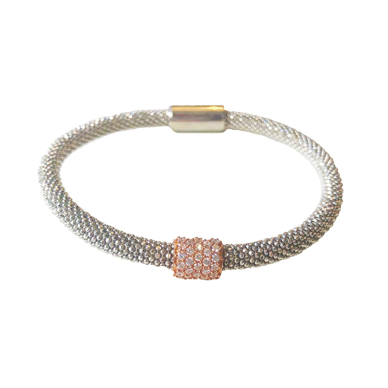 Flex armband zilver met rosé rondelle