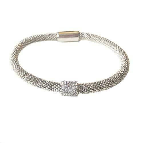 Flex armband zilver met zilver rondelle