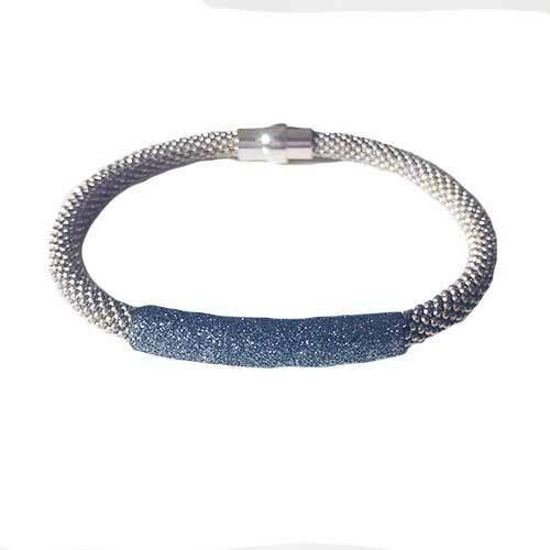 Flex armband zilver met metallic rondelle