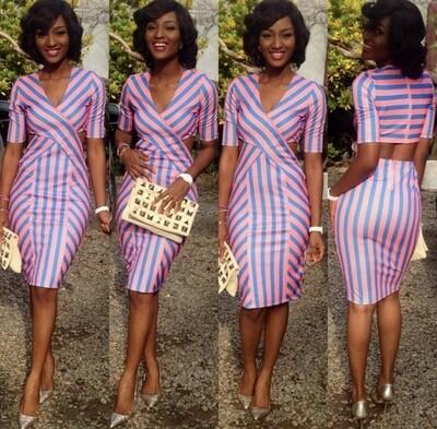 Powede Pink & Blue Cut Out Dress
