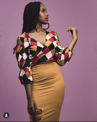 V Multicoloured Checkered Wrap Blouse
