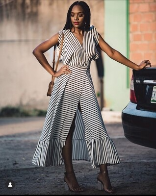 V Striped Summer Dress