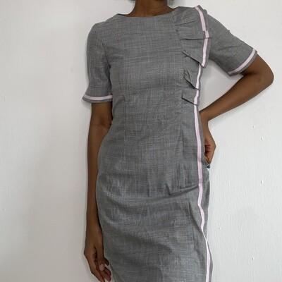 Phadi Grey Checkered Work Dress with Line and Ruffles