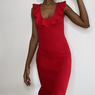 V Red Polyester Ruffle Dress
