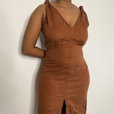 Zara Knotted Rust Dress