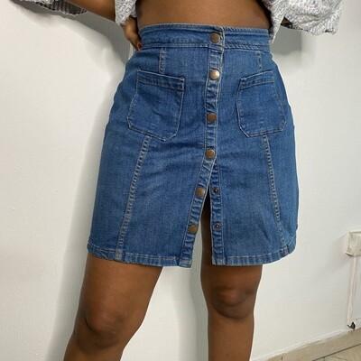 Mid Wash High Waisted Denim Button Down Skirt