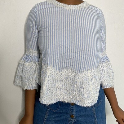Striped Blouse with Lace Trim