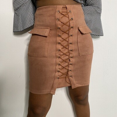 Rose Caged Front Suede Skirt