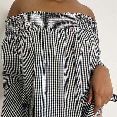 Gingham off- shoulder blouse