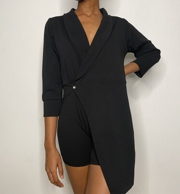 Black Oversized Top and Fitted Bottom Playsuit